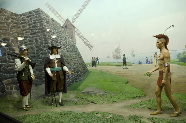 Manhattan in 1660, then known as New Amsterdam is pictured in the Theodore Roosevelt Memorial Hall inside the American Museum of Natural History in New York City on Thursday, November 1, 2012. Here Oratam-the sachem, or leader, of the Hackensack people-brings a gift of tobacco leaves to Pieter Stuyvesant, then governor of New Netherland. This is one of the dioramas in the newly-restored Theodore Roosevelt Memorial Hall.