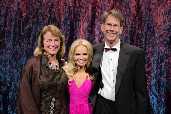 Broadway star Kristin Chenoweth (center) with Lehigh University President Alice P. Gast and her husband Brad Askins at Zoellner Arts Center's annual gala fundraiser Oct. 20.