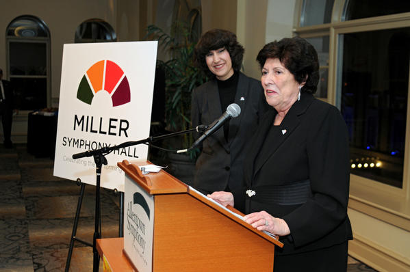 Lois B. Miller (right) speaks, while Diane Wittry, Music Director and Conductor of the Allentown Symphony Orchestra, listens during the announcement that Allentown Symphony Association will change the name of Allentown Symphony Hall to Miller Symphony Hall to honor the Miller family at N. 6th Street in Allentown on November 10, 2012.