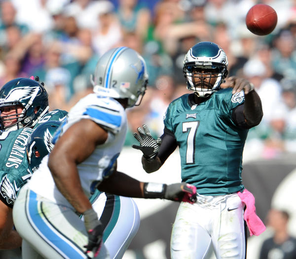 Philadelphia Eagles quarterback Michael Vick (7) passes against the Detroit Lions at Lincoln Financial Field in Philadelphia on Sunday.