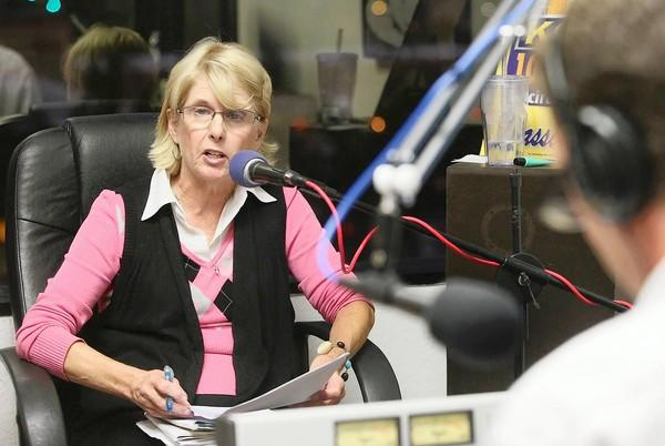 Costa Mesa City Councilwoman Wendy Leece participates in a debate on Measure V during a live taping at KOCI 101.5 FM in late October.