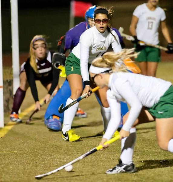 Emmaus's Teresa Carotenuto (1-center) looks for the pass in front of the goal from teammate Anna Kennedy (2-right) during their 5-1 District 11 Championship win against Stroudsburg at Whitehall High School on Sunday; November 4, 2012.