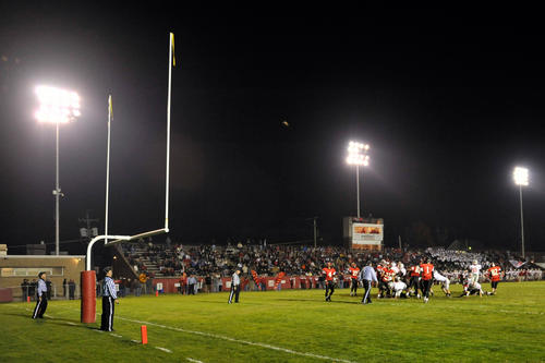 Parkland kicks a field goal. The Parkland High School Trojans played against the Easton High School Red Rovers on Saturday, November 10, 2012 at Cottingham Field in Easton for the class 4A football quarterfinal.