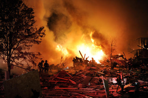 A massive explosion was reported Saturday night at a residence off Stop 11 Road and Sherman Drive. People reported hearing the explosion from miles away. (Matt Kryger/The Indianapolis Star)