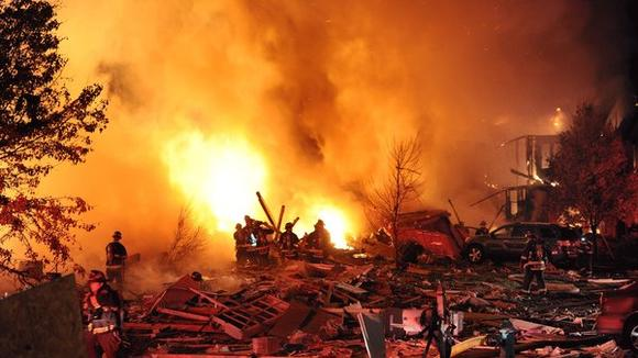 A massive explosion was reported Saturday night at a residence off Stop 11 Road and Sherman Drive.