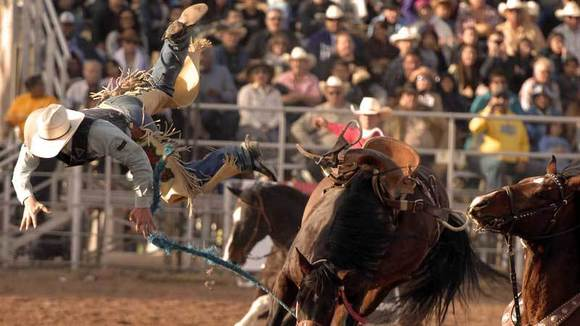 Mert Bradshaw gets bucked by a horse at the 56th annual Cattle Call Rodeo