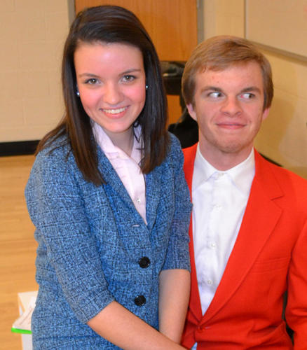 "Emma Shipley and Julian Schoming rehearse for Manchester Valley High School's production of ""How to Succeed in Business without Really Trying."""