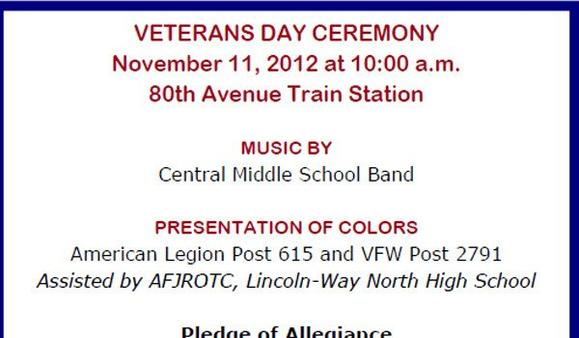 Program from a Veterans Day ceremony where four people were taken ill. Village of Tinley Park