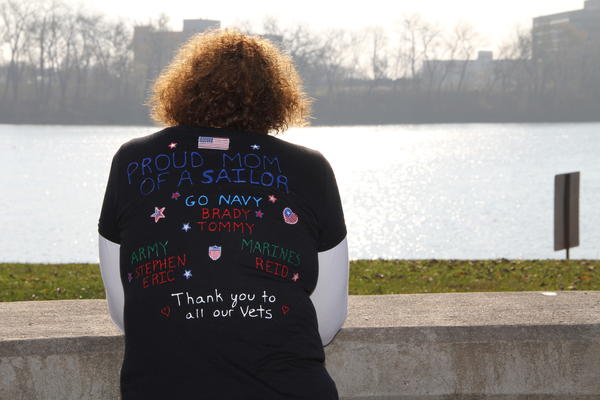 Darlene Anderson, of Vernon, takes on the view of the Connecticut River prior to the Freedom Run 5K at Riverside Park in Hartford Sunday, Nov. 11. Anderson's son, Brady, recently graduated from Boot Camp and now serves in the U.S. Navy.