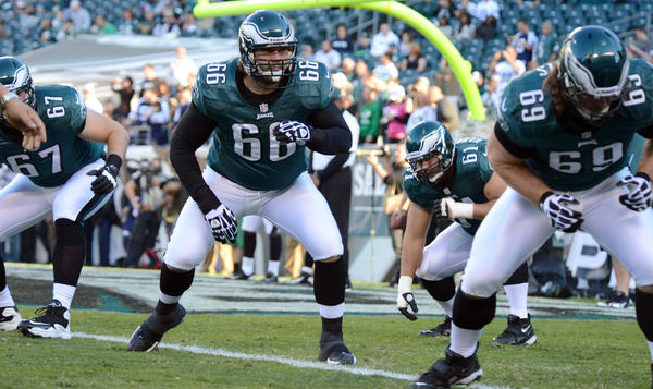 The Philadelphia Eagles offensive line warms up before the game against the Dallas Cowboys at Lincoln Financial Field in Philadelphia