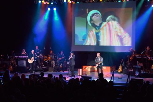 Michael Nesmith, left, Micky Dolenz and Peter Tork of the Monkees perform at The Greek Theatre on Nov. 10.