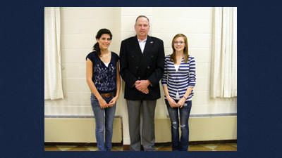 Salisbury Lions Club chose Dominique Tijerina (left) and Amber Kabina as their October Students of the Month. Lions Club president, Alex Dombrowski (center) stands with the students that were honored at a recent Lions meeting.