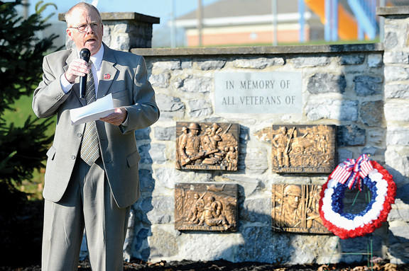 "U.S. Marine Captain Robert ""Bo"" Myers spoke Sunday morning at the Joint Veterans Council of Washington County's Veterans Day ceremony at Martin L. ""Marty"" Snook Park in Halfway."