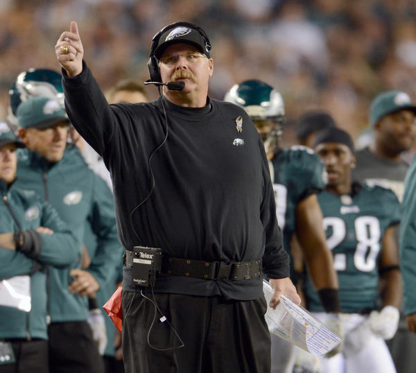Philadelphia Eagles head coach Andy Reid in their loss against the Dallas Cowboys at Lincoln Financial Field in Philadelphia on Sunday.