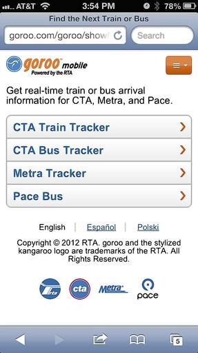 RTA's new mobile site is based on the agency's travel information website, goroo.com.