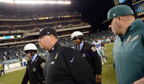 Philadelphia Eagles head coach Andy Reid walks off of the field after a hard loss against the Dallas Cowboys at Lincoln Financial Field in Philadelphia on Sunday.