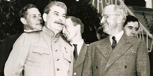 Soviet leader Joseph Stalin, left, and President Harry S. Truman.