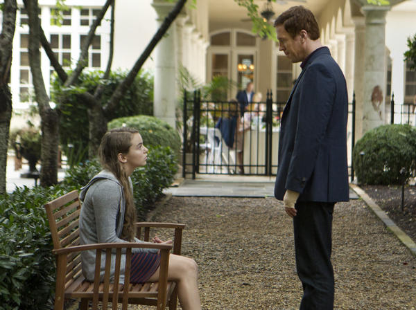 "Morgan Saylor as Dana Brody and Damian Lewis as Nicholas ""Nick"" Brody in Homeland."