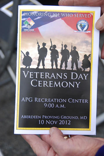 A program from Saturday's Veterans Day ceremony held at Aberdeen Proving Ground.