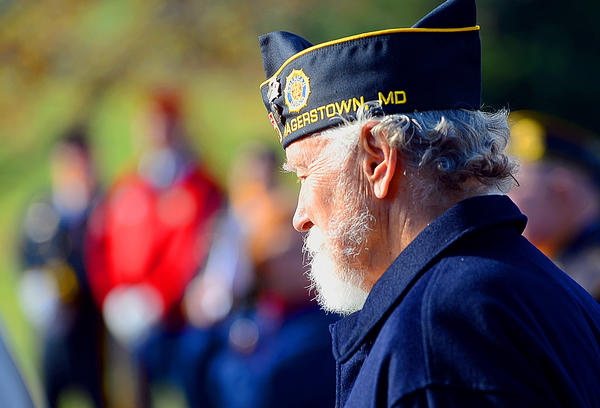 Preston Law reflects Sunday afternoon on the words of guest speaker Maj. Gen. Charles W. Lyon, director of operations for Headquarters Air Combat Command, Joint Base Langley-Eustis, Va., during a Veterans Day ceremony at Veterans Park in Smithsburg.