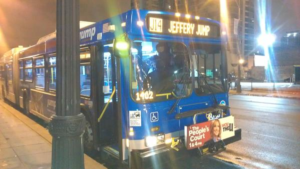 The first bus departed from downtown at 5:29 a.m. It took 43 minutes to arrive at the 103rd Street bus garage. It took this reporter 66 minutes riding the same route on the No. 14 Jeffery Express.