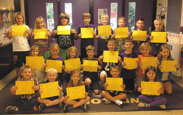 These Old Forge Elementary School students exhibited the Character Counts! pillar of respect for September: Row one, from left, John Coyle, David Swank, Brooklynne Smith, Zachary Smith and Alyiah Wygant. Row two, Rosanna Stevens, Norah Keller, Miranda Ramsburg, Sam Caesar, Dillon Smith, Kyle West, Emma Wilkinson and Sydney Schlotterbeck. Row three, Ashley Davis, Danielle Matthews, Jacob Reiter, Nick Notabartolo, Jakob Keller, Chase Baker, Caleb Boward and Thomas McNeil.