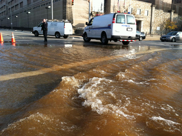 Water main break at Madison Street and Fallsway