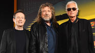 "John Paul Jones, Robert Plant and Jimmy Page at press conference about the film ""Celebration Day"" Sept. 21, 2012."