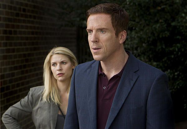 "Claire Danes as Carrie Mathison and Damian Lewis as Nicholas ""Nick"" Brody in ""Homeland."""