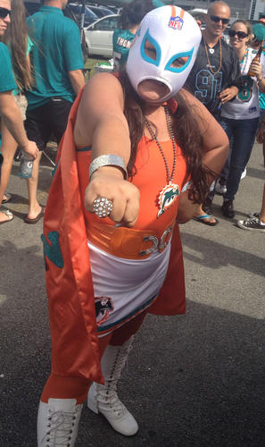 The Dolphins vs. Titans game might have been a blow out, but these tailgaters still know how to throw a good party.