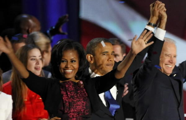 U.S. President Barack Obama and first lady Michelle Obama celebrate with Vice President Joe Biden (2ndR) and Dr. Jill Biden (R) at their election night victory rally in Chicago.
