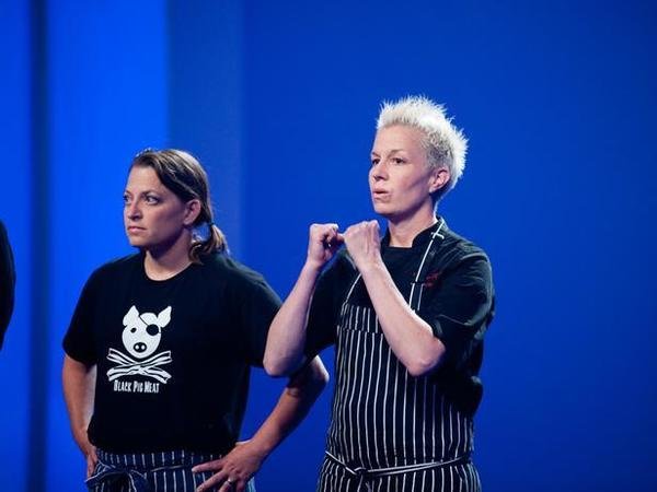 "Duskie Estes, left, was eliminated this week on ""Next Iron Chef"" while Elizabeth Falkner lives to cook another day."