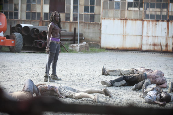 Michonne, played by Danai Gurira, triumphs over some walkers.