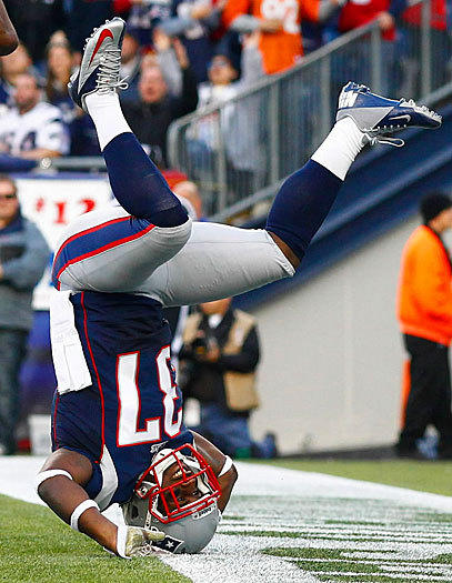 New England Patriots George Wilson lands on his head trying to defend a pass against the Buffalo Bills on Nov. 11, at Gillette Stadium in Foxboro, Mass.