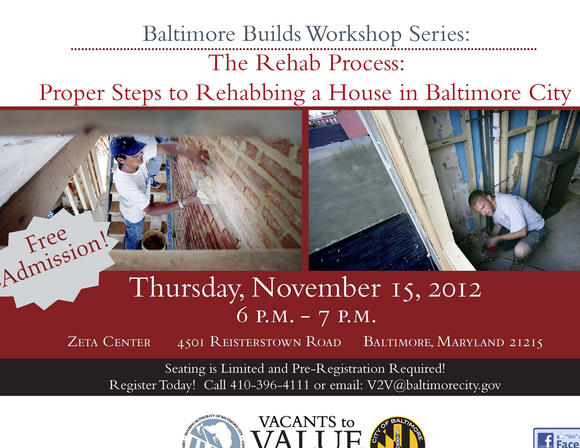 Baltimore Housing is offering a rehab workshop on Thursday.