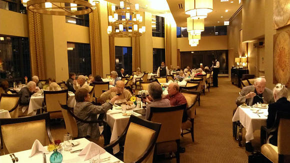 The dining room at The Clare retirement community in Chicago will serve residents more than 500 pounds of turkey and all the traditional trimmings for more than 100 of their residents and their families.