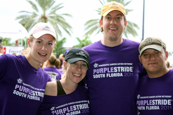 "Melissa Pressentin, left, Rachel Gleichenhaus, Benjamin Pressentin and Robert Gleichenhaus at last year's ""PurpleStride South Florida."" This year's event, which benefits the South Florida Affiliates of the Pancreatic Cancer Action Network, will take place Nov. 18 at the BB&T Center located in Sunrise."