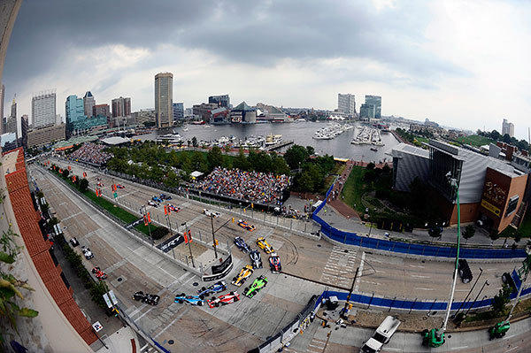 A general view of cars racing by the Baltimore Inner Harbor during the IZOD IndyCar Series Baltimore Grand Prix on September 2, 2012 in Baltimore, Maryland.