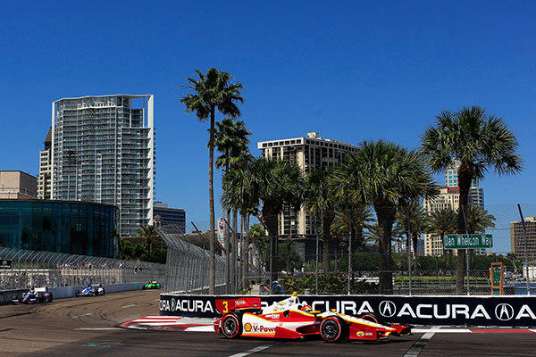 Helio Castroneves of Brazil, drives the #3 Shell V-Power/Pennzoil Ultra Team Penske in the IZOD IndyCar Series Honda Grand Prix of St Petersburg on March 25, 2012 in St Petersburg, Florida.