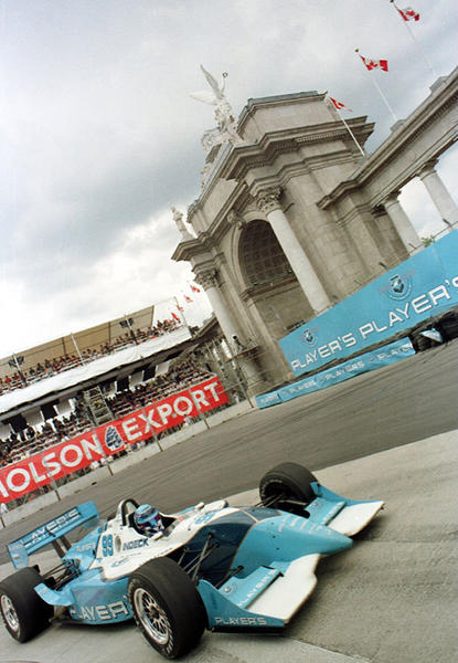 Greg Moore of Canada takes fourth place at the Molson Indycar grand Prix, round eleven of the PPG IndyCar World Series in Toronto, Ontario, Canada