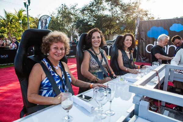 "Rosa Torres-Tumazos, left, Martha Cardenas and Miriam Nunoz at ""Dinner in the Sky,"" which took place Oct. 20 and hoisted diners 180 feet in the air above Old School Square. The event was hosted by the Delray Beach Marketing Cooperative as an official Lynn University Presidential Debate event."