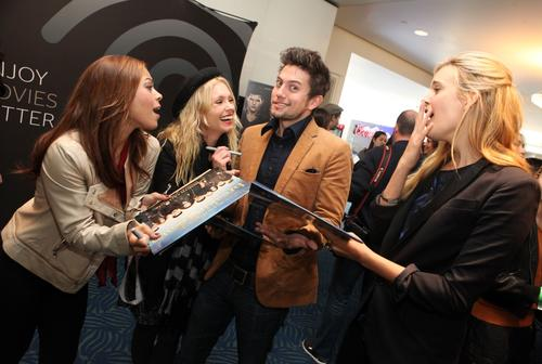 """Breaking Dawn"" actors Toni Trucks, left, MyAnna Buring, Jackson Rathbone and Maggie Grace are seen at the Time Warner Cable and Twilight Fan Breakfast."