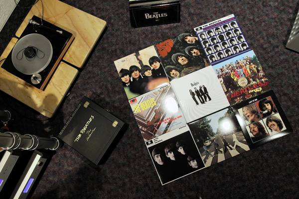 Various Beatles album covers photographed at Audio Consultants in Evanston.