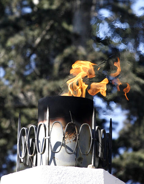 The flame from the Burbank War Memorial burns at the Veterans Day Ceremony at McCambridge Park War Memorial in Burbank on Monday November 12, 2012. The event was sponsored by the City of Burbank and the Burbank Veterans Committee.