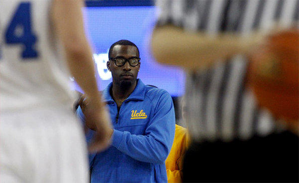 Shabazz Muhammad watches from the bench as the Bruins play against Indiana State.