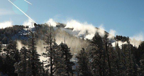 Snow-making last weekend at Heavenly Mountain Resort near Lake Tahoe. The ski resort plans to open Wednesday.