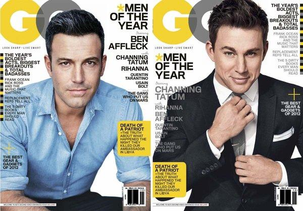 Ben Affleck, left, and a suited Channing Tatum are GQ magazine's 2012 Men of the Year.