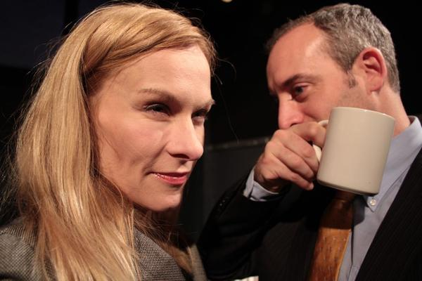 """Nina Sallinen, left, and Jim Kane in """"Slipped Disc,"""" a Green Card Theatre production at Son of Semele."""