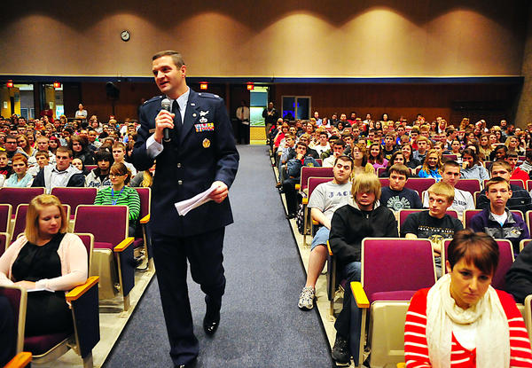 Retired U.S. Air Force Lt. Col. Corey Spoonhour talks to students Monday during a Veterans Day presentation at Greencastle-Antrim High School in Greencastle, Pa.