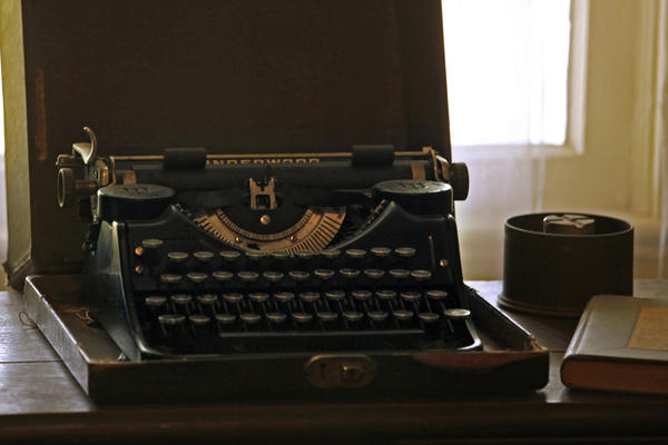 William Faulkner's portable typewriter. Faulkner didn't have an MFA, but he did have a Nobel Prize.